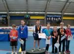 Stupně vítězů: smíšená čtyřhra nejmladšího žactva